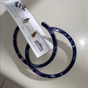 Jewelry - Acetate blue white and light purple new hoops